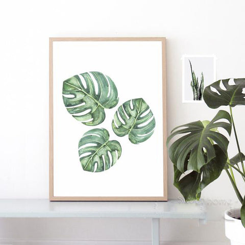 Modern Tropical Leaf Canvas Wall Art