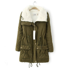 Turn-Down Fur Collar Parka Winter Coat