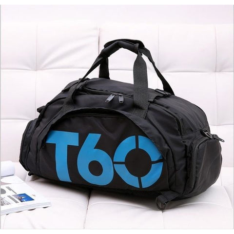T60 Multi-Purpose Waterproof Sport Bag with Shoe Storage Black Blue