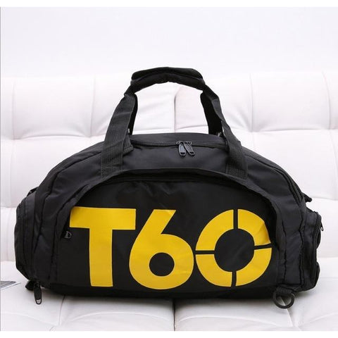 T60 Multi-Purpose Waterproof Sport Bag with Shoe Storage Black Yellow