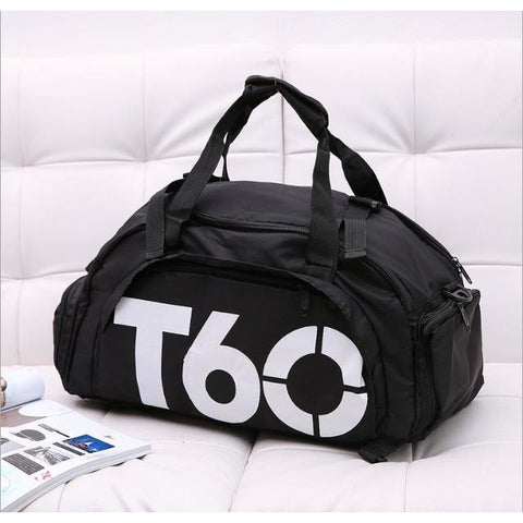 T60 Multi-Purpose Waterproof Sport Bag with Shoe Storage Black White