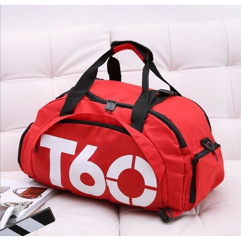 T60 Multi-Purpose Waterproof Sport Bag with Shoe Storage Red White