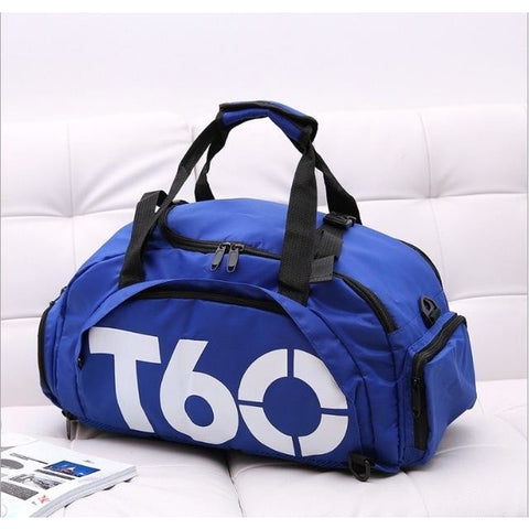 T60 Multi-Purpose Waterproof Sport Bag with Shoe Storage Blue White
