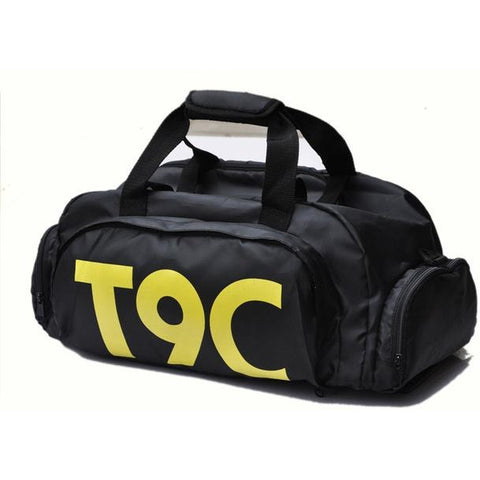 T9C Multi-Purpose Waterproof Sport Bag with Shoe Storage Black Yellow