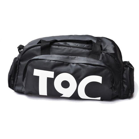 T9C Multi-Purpose Waterproof Sport Bag with Shoe Storage Black White