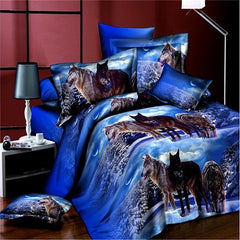 3D Blue Wolf Printed Duvet Cover Set King Queen Size