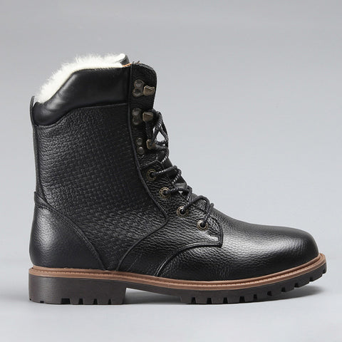 Genuine Leather Mid Length Winter Boots with Wool Lining