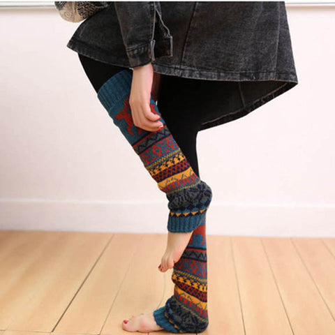 Long Knitted Cashmere Socks for Women