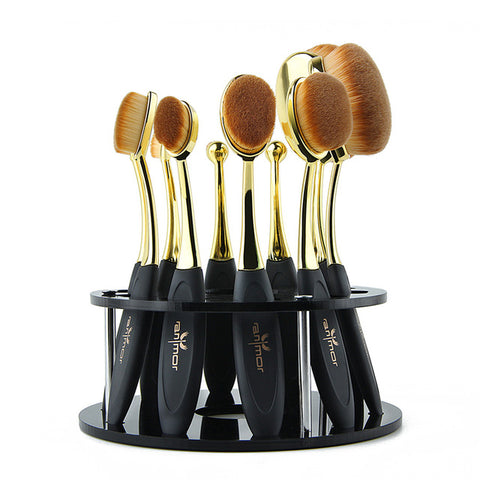 10-Piece Oval Makeup Brush Set with Brush Holder