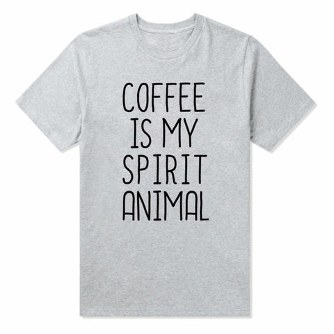 'Coffee Is My Spirit Animal' Print Casual Cotton Shirt for Women