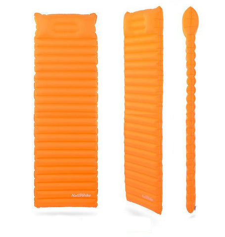 Portable Inflatable Sleeping Mat Horizontal Tube Design