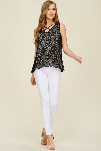 Black Lace V-Neck Top Fully Lined with Criss Cross Detail