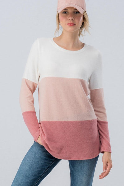 Pink and White Color Block Long Sleeve Top