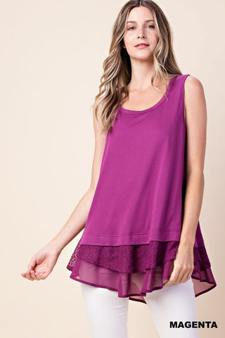 Sleeveless Top With Ruffle Layered Hem in Magenta