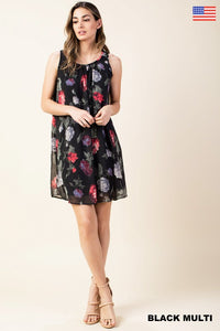 Sleeveless Floral Black Dress Fully Lined