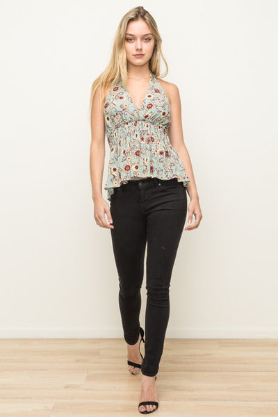Floral Halter Tie Neck Top in Sage Green & Burgundy