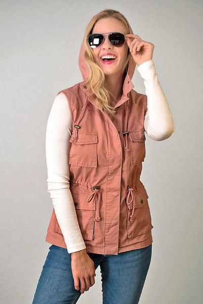 Mauve Anorak Vest With Pockets and Hood