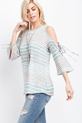 Dreamy Pastel Multi Stripe Cold Shoulder Lace Up Top