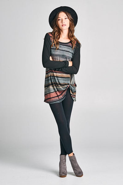 Midnight Watercolor Stripe Twist Tunic Top Long Sleeves S - 3X