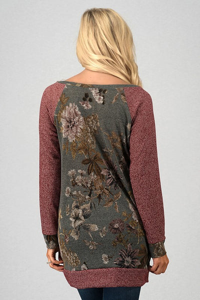 Floral Print Long Sleeve Raglan Top Tunic With Pockets