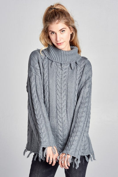 Oversized Chunky Cable Knit Sweater in Gray