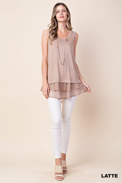 Sleeveless Top With Ruffle Layered Hem in Taupe