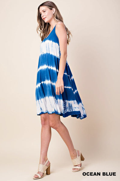 Tie Dye Midi Length Spaghetti Strap Dress in Ocean Blue