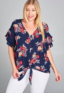 Floral Favorite V Neck Navy Top With Front Tie in Plus Size