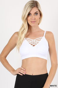 Lattice Front Bralette with Removable Pad in White