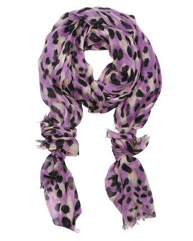 Purple and Black Leopard Animal Print Fashion Scarf