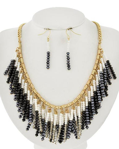 Black Hematite Glass & Crystal Beaded Statement Necklace Earrings Set