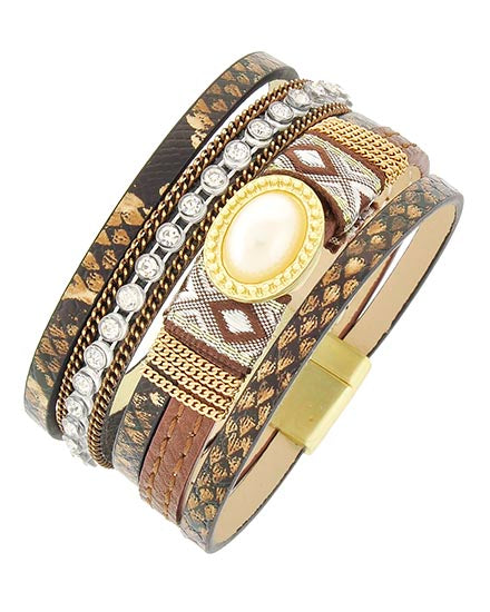 Matte Gold Animal Print Brown Leatherette Magnetic Bracelet
