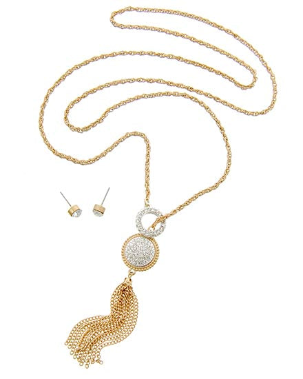 Dainty Rhinestone & Gold Tone Long Necklace and Earrings Set