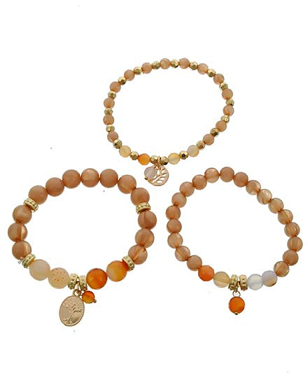 Stackable Tree of Life Glass & Semi Precious Stone Bracelet Set of 3