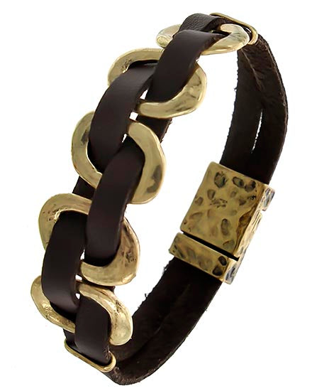 Brown Leather Magnetic Bracelet with Burnished Gold Tone Metal