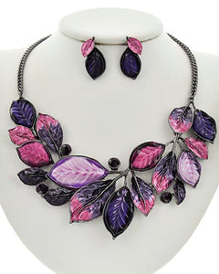Purple & Pink Floral Statement Hematite and Rhinestone Necklace Set