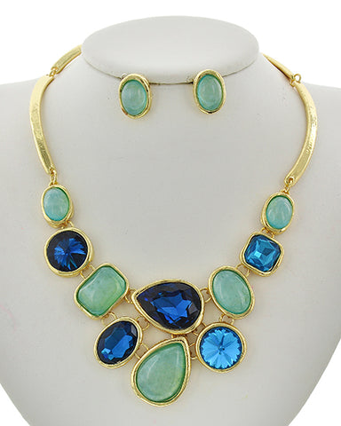 Gorgeous Gold Tone Blue Green Glass & Acrylic Stone Multi Colored Necklace & Earrings Set