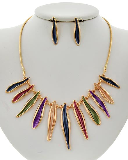 Striking Gold Tone & Multi Colored Epoxy Necklace & Earrings Set