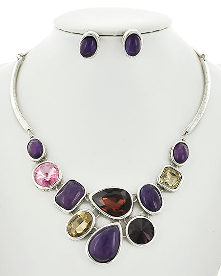Gorgeous Silver Tone Purple Acrylic & Multi Colored Stone  Necklace & Earrings Set