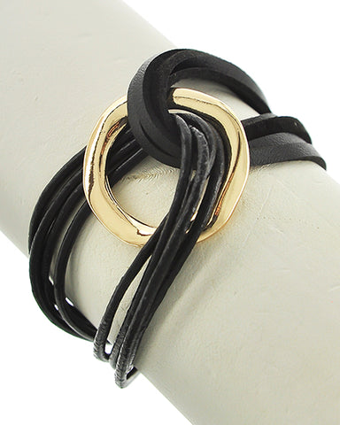 Boho Chic Black Leatherette Gold Tone Wrap Bracelet