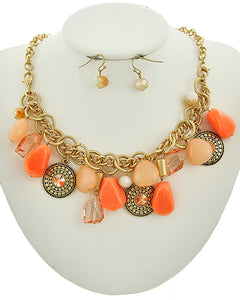 Coral Glass & Acrylic Gold Tone Dangling Charm Necklace and Earring Set