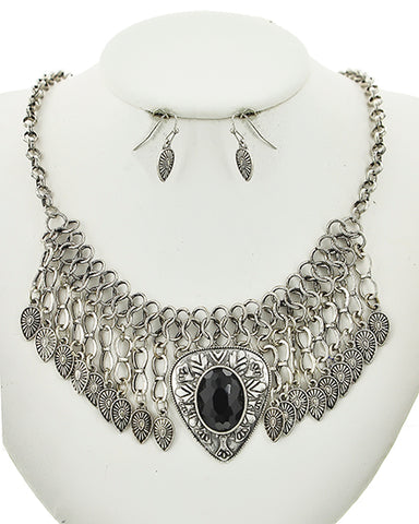 Burnished Silver Statement Necklace Set With Earrings