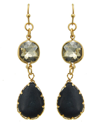 Black Semi Precious Stone and Gold Tone Dangle Pierced Earrings