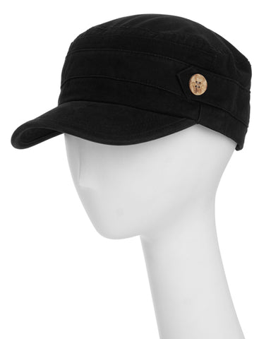 Black Cotton Cadet Adjustable Hat With Button Detail