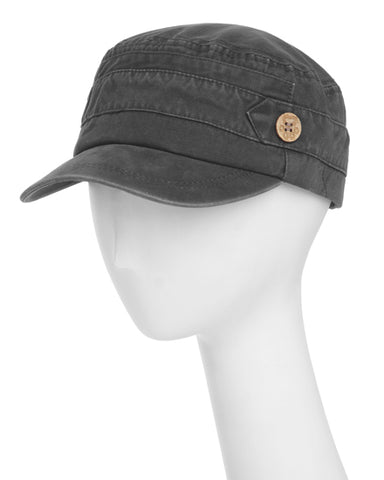 Gray Cotton Cadet Adjustable Hat With Button Detail