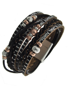 Rhodiumized Tri-Color Black Leatherette Beaded Wrap Bracelet