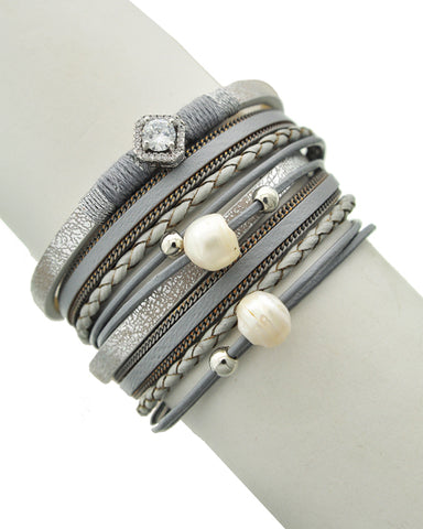 Fresh Water Pearl Gray Leatherette Rhinestone Wrap Bracelet