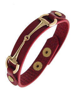 Red Leatherette Snap Button Gold Tone Bracelet