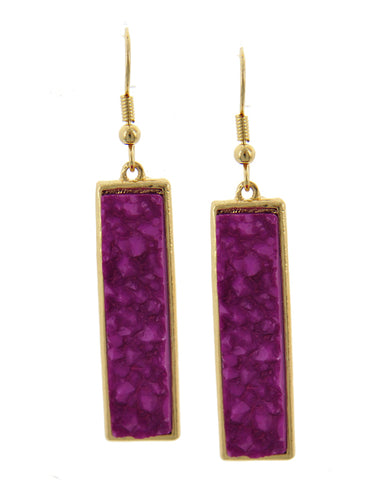Purple Fuchsia Rectangular Acylic Druzy Gold Tone Earrings