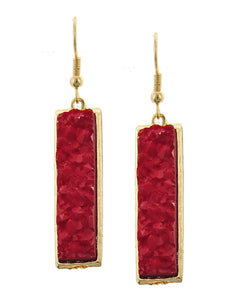 Red Rectangular Acylic Druzy Gold Tone Earrings